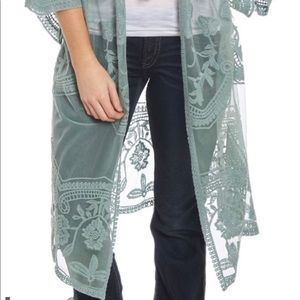 Tops - Lace crochet duster cardigan